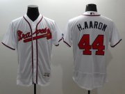 Wholesale Cheap Braves #44 Hank Aaron White Flexbase Authentic Collection Stitched MLB Jersey