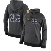 Wholesale Cheap NFL Women's Nike Tennessee Titans #22 Derrick Henry Stitched Black Anthracite Salute to Service Player Performance Hoodie
