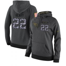 Wholesale Cheap NFL Women\'s Nike Tennessee Titans #22 Derrick Henry Stitched Black Anthracite Salute to Service Player Performance Hoodie