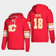 Wholesale Cheap Calgary Flames #18 James Neal Red adidas Lace-Up Pullover Hoodie