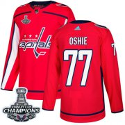 Wholesale Cheap Adidas Capitals #77 T.J Oshie Red Home Authentic Stanley Cup Final Champions Stitched NHL Jersey