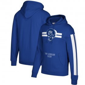 Wholesale Cheap Los Angeles Rams Mitchell & Ness Three Stripe Pullover Hoodie Royal