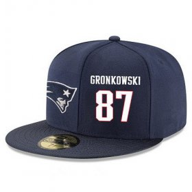 Wholesale Cheap New England Patriots #87 Rob Gronkowski Snapback Cap NFL Player Navy Blue with White Number Stitched Hat
