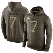 Wholesale Cheap NFL Men's Nike Washington Redskins #7 Joe Theismann Stitched Green Olive Salute To Service KO Performance Hoodie