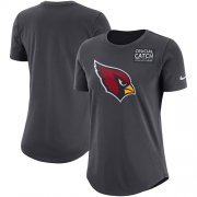 Wholesale Cheap NFL Women's Arizona Cardinals Nike Anthracite Crucial Catch Tri-Blend Performance T-Shirt