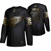Wholesale Cheap Adidas Red Wings #35 Jimmy Howard Men's 2019 Black Golden Edition Authentic Stitched NHL Jersey