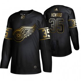 Wholesale Cheap Adidas Red Wings #35 Jimmy Howard Men\'s 2019 Black Golden Edition Authentic Stitched NHL Jersey