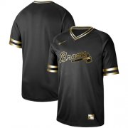 Wholesale Cheap Nike Braves Blank Black Gold Authentic Stitched MLB Jersey