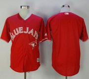 Wholesale Cheap Blue Jays Blank Red New Cool Base Canada Day Stitched MLB Jersey
