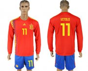 Wholesale Cheap Spain #11 Vitolo Red Home Long Sleeves Soccer Country Jersey