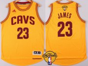 Wholesale Cheap Men's Cleveland Cavaliers #23 LeBron James 2017 The NBA Finals Patch Yellow Jersey