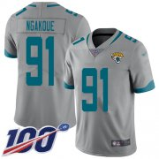 Wholesale Cheap Nike Jaguars #91 Yannick Ngakoue Silver Men's Stitched NFL Limited Inverted Legend 100th Season Jersey