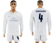 Wholesale Cheap Real Madrid #4 Sergio Ramos Marine Environmental Protection Home Long Sleeves Soccer Club Jersey
