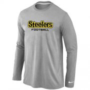 Wholesale Cheap Nike Pittsburgh Steelers Authentic Font Long Sleeve T-Shirt Grey