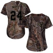Wholesale Cheap Giants #24 Willie Mays Camo Realtree Collection Cool Base Women's Stitched MLB Jersey