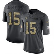 Wholesale Cheap Nike Raiders #15 Nelson Agholor Black Men's Stitched NFL Limited 2016 Salute to Service Jersey