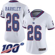 Wholesale Cheap Nike Giants #26 Saquon Barkley White Women's Stitched NFL Limited Rush 100th Season Jersey
