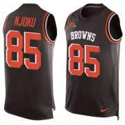 Wholesale Cheap Nike Browns #85 David Njoku Brown Team Color Men's Stitched NFL Limited Tank Top Jersey