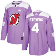 Wholesale Cheap Adidas Devils #4 Scott Stevens Purple Authentic Fights Cancer Stitched NHL Jersey