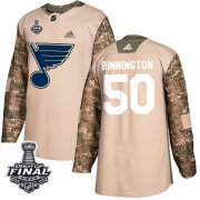 Wholesale Cheap Adidas Blues #50 Jordan Binnington Camo Authentic 2017 Veterans Day 2019 Stanley Cup Final Stitched NHL Jersey