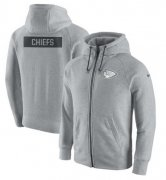 Wholesale Cheap Men's Kansas City Chiefs Nike Ash Gridiron Gray 2.0 Full-Zip Hoodie