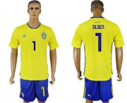Wholesale Cheap Sweden #1 Olsen Home Soccer Country Jersey