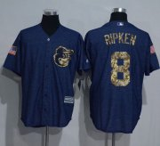 Wholesale Cheap Orioles #8 Cal Ripken Denim Blue Salute to Service Stitched MLB Jersey
