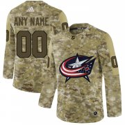 Wholesale Cheap Men's Adidas Blue Jackets Personalized Camo Authentic NHL Jersey