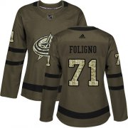 Wholesale Cheap Adidas Blue Jackets #71 Nick Foligno Green Salute to Service Women's Stitched NHL Jersey