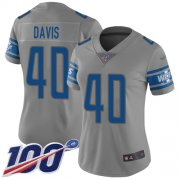 Wholesale Cheap Nike Lions #40 Jarrad Davis Gray Women's Stitched NFL Limited Inverted Legend 100th Season Jersey