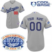 Wholesale Cheap Dodgers Personalized Authentic Grey w/1955 World Series Anniversary Patch MLB Jersey (S-3XL)