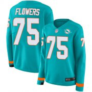 Wholesale Cheap Nike Dolphins #75 Ereck Flowers Aqua Green Team Color Women's Stitched NFL Limited Therma Long Sleeve Jersey