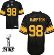 Wholesale Cheap Steelers #98 Casey Hampton Black With Yellow Number Super Bowl XLV Stitched NFL Jersey