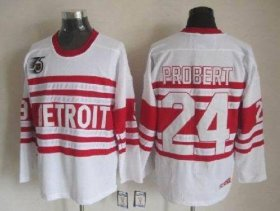Wholesale Cheap Red Wings #24 Bob Probert White CCM Throwback 75TH Stitched NHL Jersey