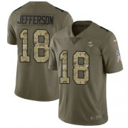 Wholesale Cheap Nike Vikings #18 Justin Jefferson Olive/Camo Men's Stitched NFL Limited 2017 Salute To Service Jersey