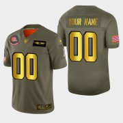 Wholesale Cheap Nike Browns Custom Men's Olive Gold 2019 Salute to Service NFL 100 Limited Jersey