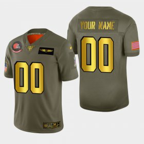 Wholesale Cheap Nike Browns Custom Men\'s Olive Gold 2019 Salute to Service NFL 100 Limited Jersey