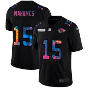 Cheap Kansas City Chiefs #15 Patrick Mahomes Men's Nike Multi-Color Black 2020 NFL Crucial Catch Vapor Untouchable Limited Jersey