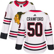 Wholesale Cheap Adidas Blackhawks #50 Corey Crawford White Road Authentic Women's Stitched NHL Jersey