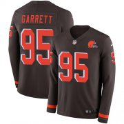 Wholesale Cheap Nike Browns #95 Myles Garrett Brown Team Color Men's Stitched NFL Limited Therma Long Sleeve Jersey