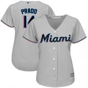 Wholesale Cheap Marlins #14 Martin Prado Grey Road Women's Stitched MLB Jersey