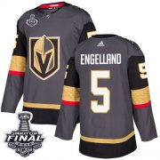 Wholesale Cheap Adidas Golden Knights #5 Deryk Engelland Grey Home Authentic 2018 Stanley Cup Final Stitched NHL Jersey