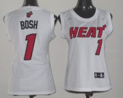 Wholesale Cheap Miami Heat #1 Chris Bosh White Womens Jersey