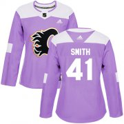 Wholesale Cheap Adidas Flames #41 Mike Smith Purple Authentic Fights Cancer Women's Stitched NHL Jersey