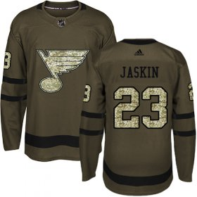 Wholesale Cheap Adidas Blues #23 Dmitrij Jaskin Green Salute to Service Stitched NHL Jersey