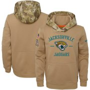 Wholesale Cheap Youth Jacksonville Jaguars Nike Khaki 2019 Salute to Service Therma Pullover Hoodie