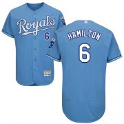 Wholesale Cheap Royals #6 Billy Hamilton Light Blue Flexbase Authentic Collection Stitched MLB Jersey