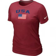 Wholesale Cheap Women's USA Olympics USA Flag Collection Locker Room T-Shirt Red