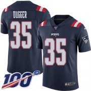 Wholesale Cheap Nike Patriots #35 Kyle Dugger Navy Blue Youth Stitched NFL Limited Rush 100th Season Jersey