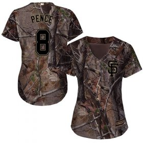 Wholesale Cheap Giants #8 Hunter Pence Camo Realtree Collection Cool Base Women\'s Stitched MLB Jersey